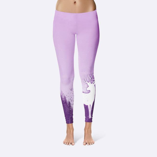 c91e0fdc93e1c JIGERJOGER Violet purple multicolor purple reindeer geometric Girls skinny  tight Leggings Running jeggings free drop shipping