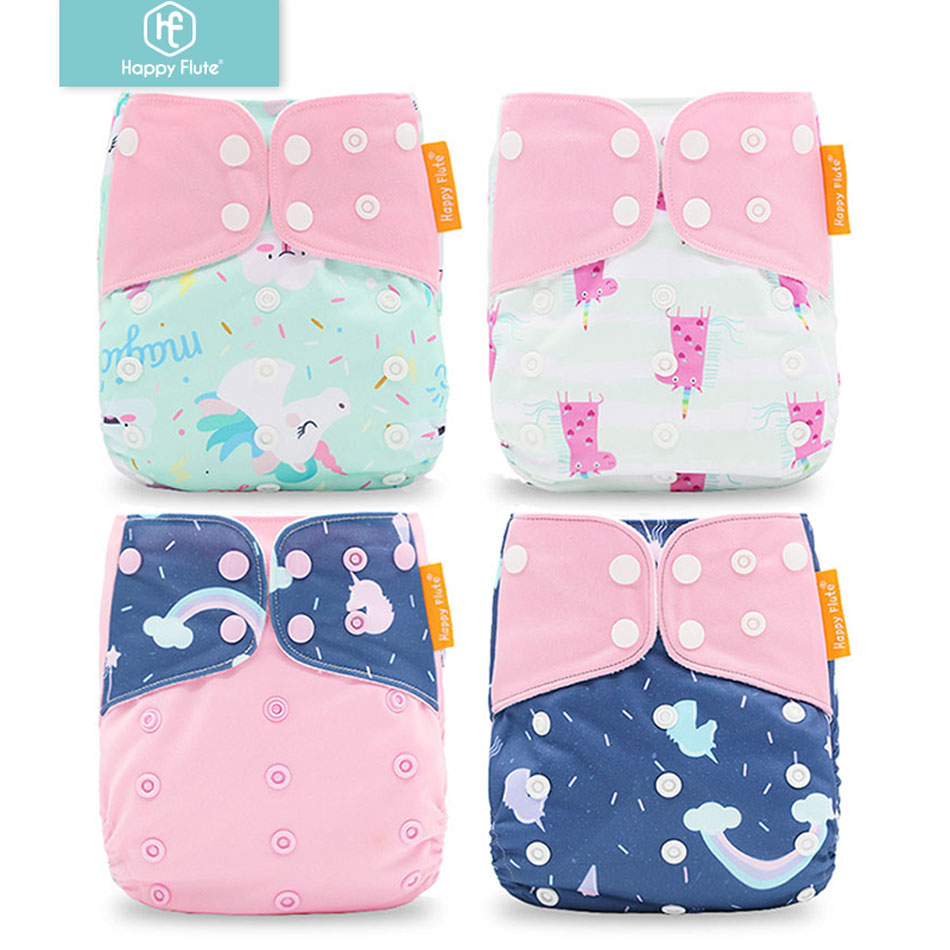 Happyflute  4pcs/set Washable Cloth Diaper Cover Adjustable Nappy Reusable Cloth Diapers Cloth Nappy fit 3-15kg baby(China)