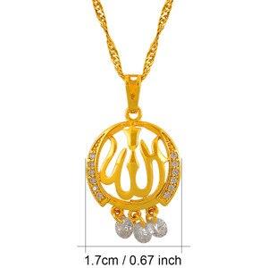 Image 3 - Anniyo Zirconia Allah Hanger Ketting Islamitische Gouden Kleur Midden oosten Sieraden Vrouwen Arabische Moslim Item Islam Kettingen