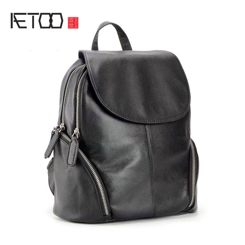 AETOO Head cowhide double Shoulder bag leather large capacity multi compartment bag women s College wind