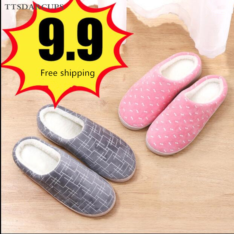 TTSDARCUPS Cotton towing  Shoe woman Fall Winter Home Couple Thick-soled Non-slippery Plush Slippers Half-packed Soft-soled Warm