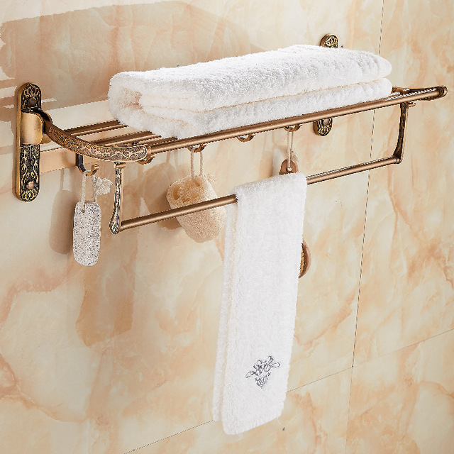 European Style Space Aluminum Antique Bath Towel Rack Bathroom