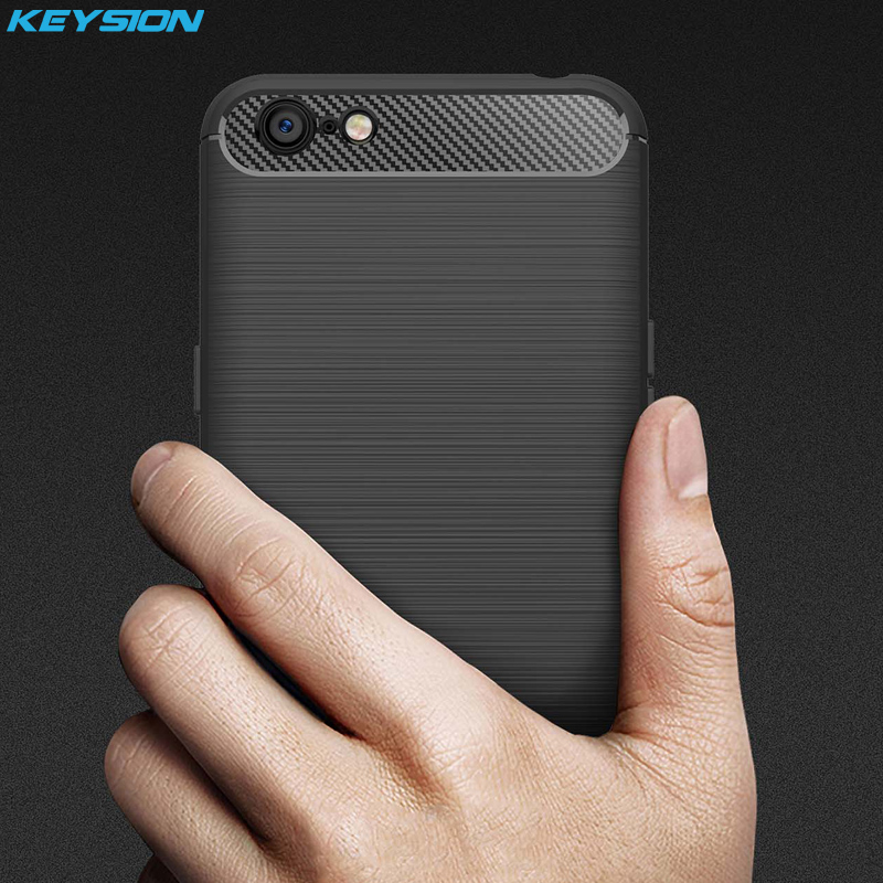 KEYSION Phone Case for OPPO A71 Carbon Fiber Soft TPU Silicone Brushed Non-slip Anti-knock Back Cover for OPPO A71 Shell