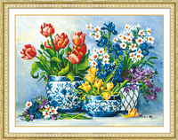 5d Diy Diamond Painting Tulips Vase Mosaic Round Diamond Embroidery Needlework Cross Stitch Resin Diamond Home