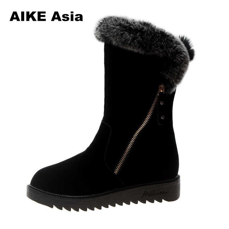 Mujer Moda Sexy Nieve La Invierno Y66 De Black Las Zapatos Ocasionales 2019 Nueva Botas Mujeres Planos Bottes Caliente Medio Barril wZTXzxgOqx