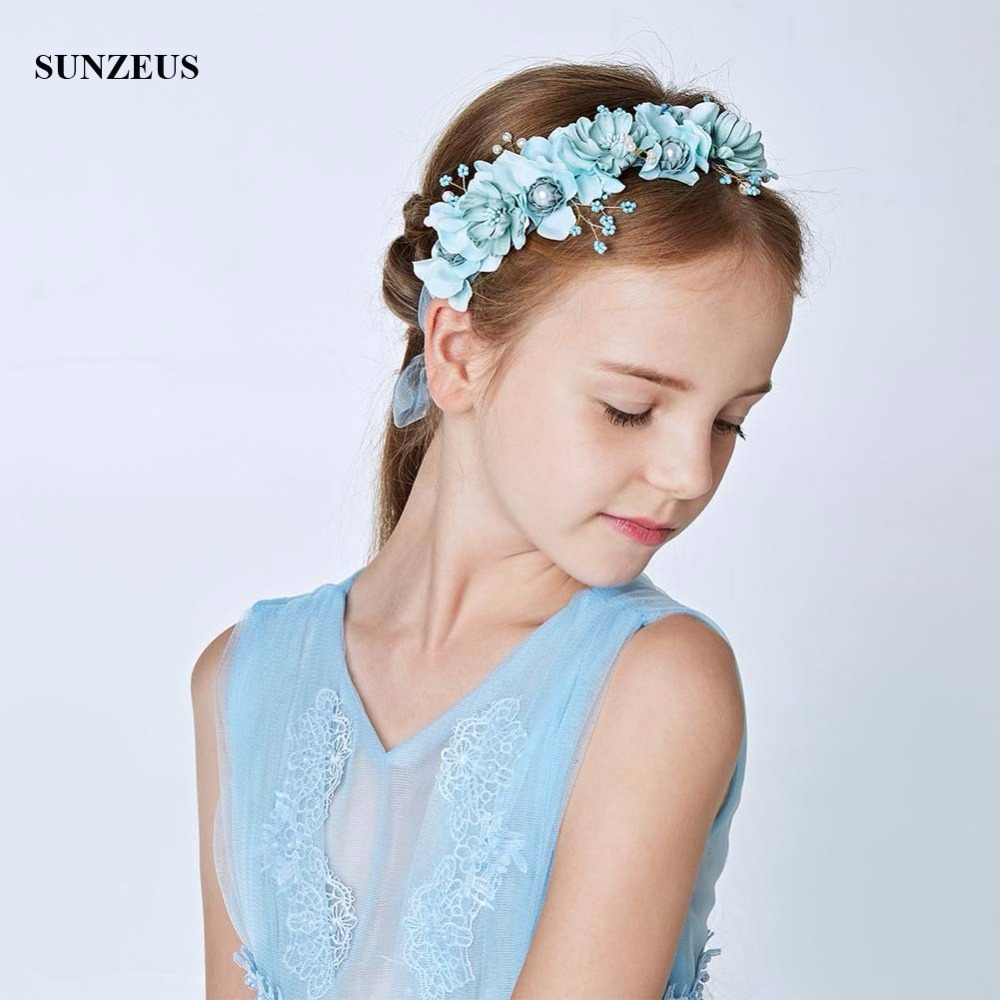 Turquoise Flowers Headband Hair Accessories Pearls Beaded Charming Flower Girls Hair Decoration With Wristband SG02