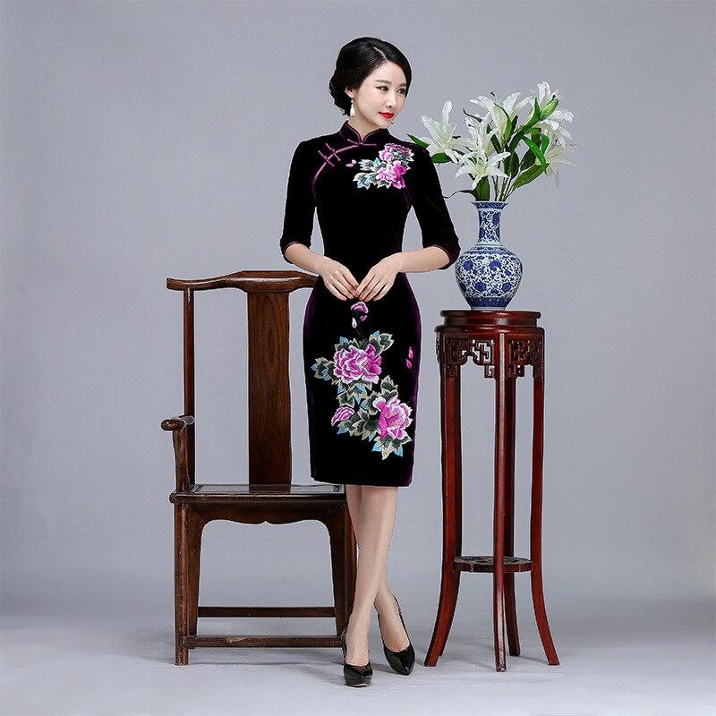 Женское осеннее Чонсам с коротким рукавом Элегантное цветочное китайское Qipao сексуальное платье с низким разрезом для вечеринки бархатное ...