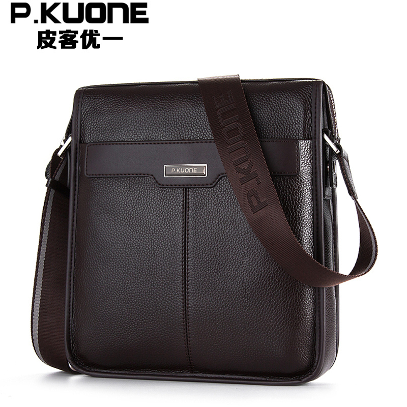 ФОТО  High Quality 100% Guarantee Real First Layer Genuine Leather Cross Body Men Messenger Bags Shoulder Bags #M112811-1