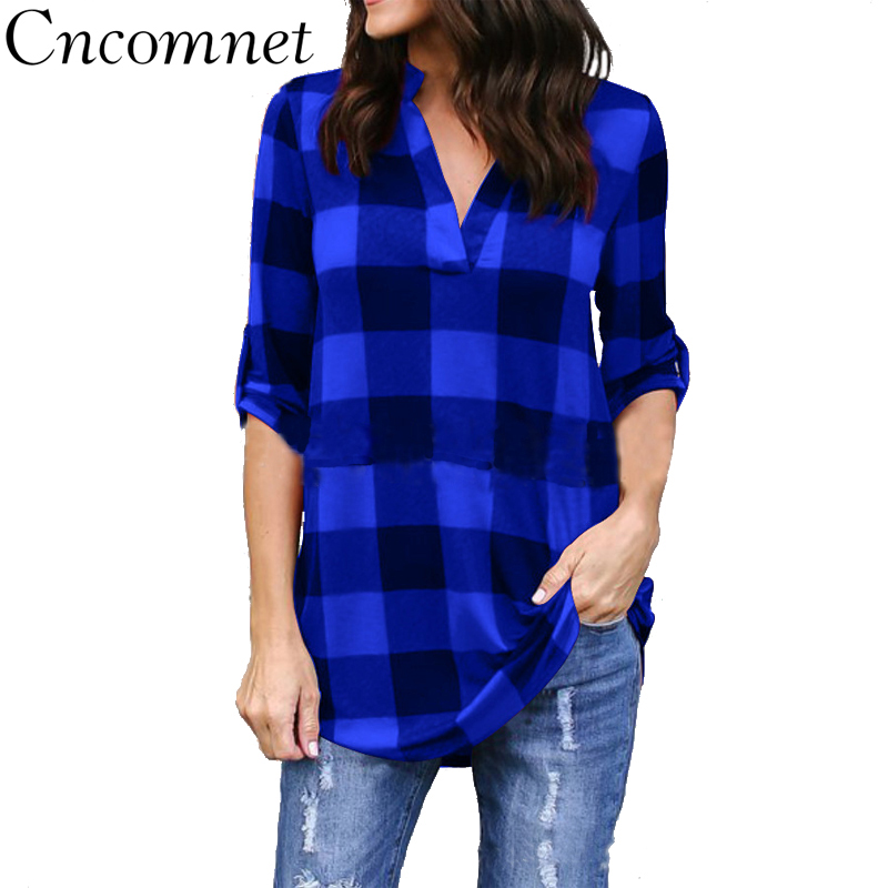 CNCOMNET Big Yard Sping Autumn Plaid Printed Tops Women Sexy Casual Loose   Blouses   Large Size Female Outerwear Ladies   Shirt