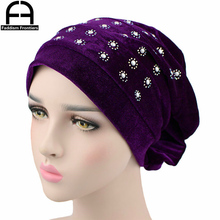 Fashion Women Turban Beaded Knot Velvet Soft Hair Cover Headwear Hijab Beanie Hat Turbante Headband Accessories