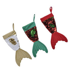 Christmas 16 inch Fishtail Flip Beads Stockings Gift Bags Hanging Pendant Ornaments Party Decor for Home Festival Party c122(China)