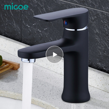Micoe 2019 New Basin Faucet Contemporary Bathroom Faucet Painted Brass Single Handle Single Hole Hot and Cold Faucet Deck Assemb