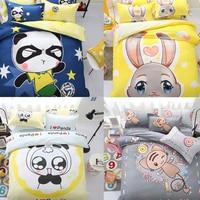 Cartoon Duży Obraz Druku 4 Sztuk Twin/Full/Queen/King Size Bed Kołdra/Kołdra/Doona pokrywa Zestaw & Sheet Shams Panda Królika Cukierki Dzieci