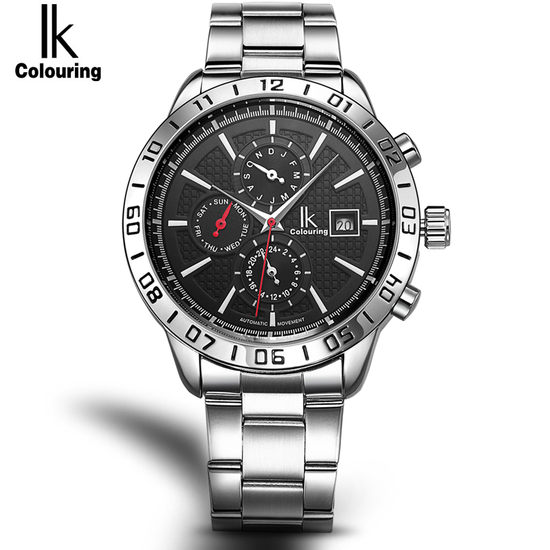 IK Automatic SelfWind Men Watch Nail Scale Multifunction Subdials Hours Small Dial Week Date Month Display