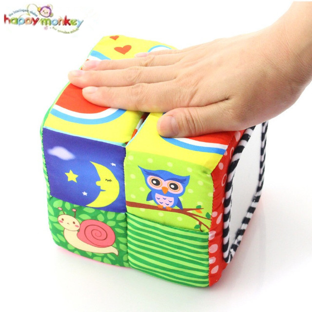 TOP!!! New Infant Baby Cloth Magic Cabin Building Blocks Rattle Plush toys Sound early Educational Toys Baby Soft Blocks Cube