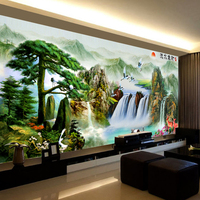 Hand  DMC Kreuz stich  Set Für Voll Stickerei kit  chinesische Baum Wasserfall Sonne Landschaft Muster Kreuz-Stitching Home Decro