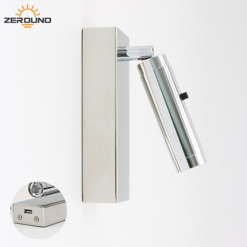 Zerouno appliques luminaires applique murale via DC 5V 2A USB chargeur applique murale en Surface 350 degrés Ajustable Wandlamp leds