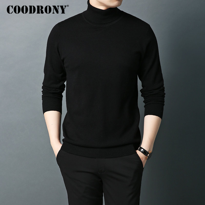COODRONY Brand Sweater Men Autumn Winter Turtleneck Warm Wool Sweaters Classic Pure Color Pullover Men Knitwear Pull Homme 91065
