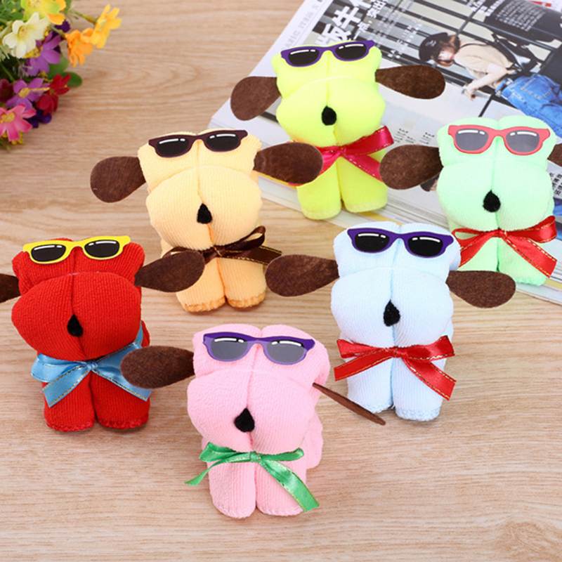 5pcs Cute Dog Children font b Toy b font Shape Cotton Cake Towel Creative Mother s