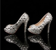 Gorgeous Peep Toe High heel Formal Shoes Ladies Rhinestone Wedding Shoes Crystal Evening Dress Shoes Party Prom Dress Shoes
