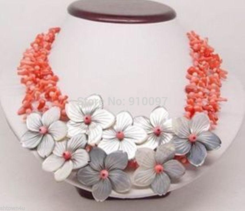 54013 > 4row collier de coquillages rose fleur de corail