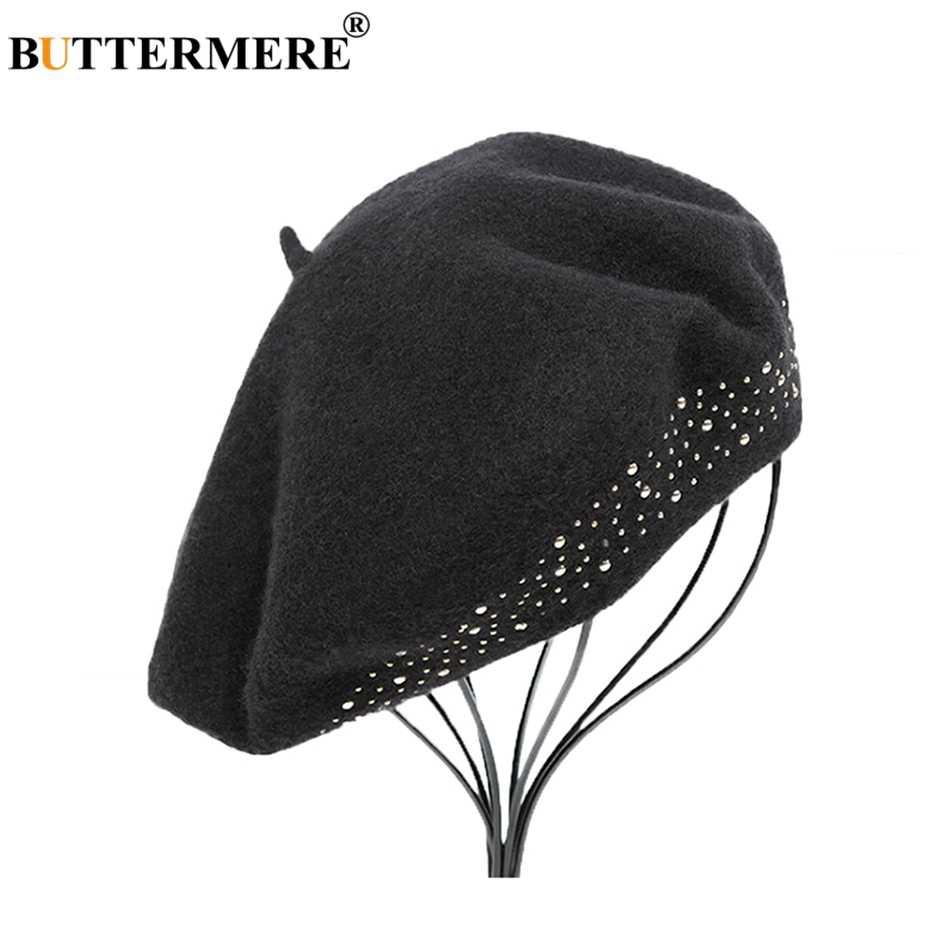 BUTTERMERE колпачок из шерсти женский, черный заклепки художественный шапки Дамы французский шапочки элегантные мягкие женские Осень Зима