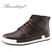BIMUDUIYU Autumn New high top Men's Ankle Boots Fashion Tie Casual Non slip Waterproof Snow Boots Microfiber Leather Retro shoes