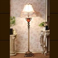 Classical Pastoral Style Fabric Lampshade Iron Floor Lamps Bulb E27 Led Floor Lamp Modern Residential Lighting