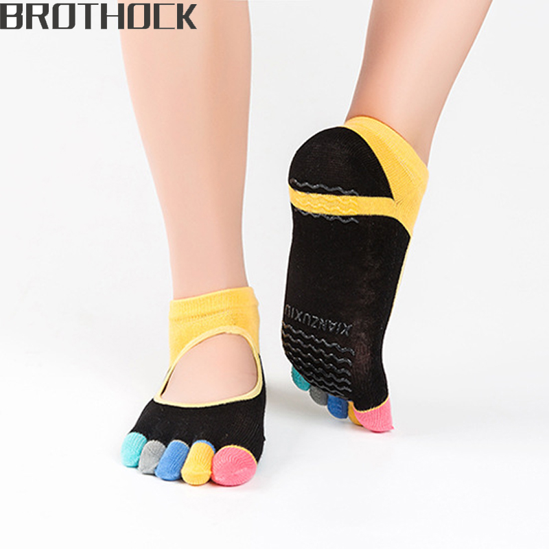Brothock Factory Direct Custom LOGO Female Yoga Socks Ms. Offset Slip Cotton Women Yoga Socks Running Fitness Five Finger Socks