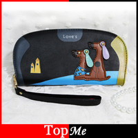 Round Style Women Wallets Lovely Dogs Zipper Lady Purses Girls Cards ID Holder Moneybags Coin Purse