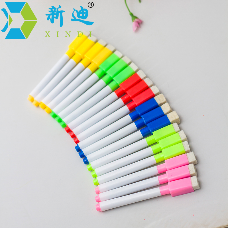 New arrival 12pcs/lot whiteboard marker brush head with magnets can add ink whiteboard pen erasable marker free shipping