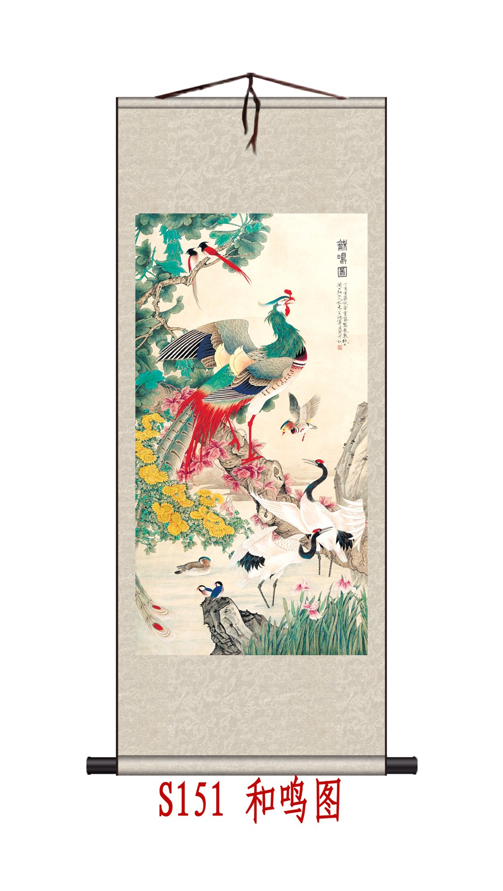 home decor traditional chinese silk scroll phoenix crane watercolor flower and bird gift 70x165cm damask framed