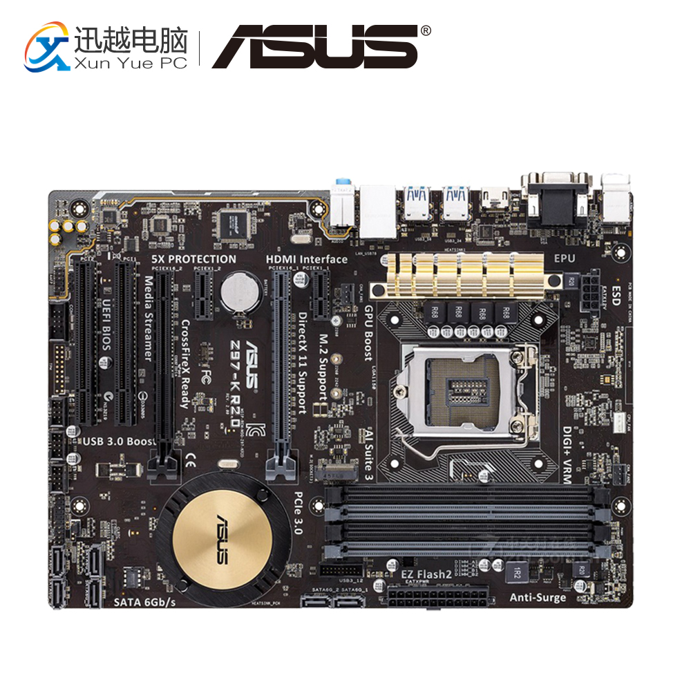 Asus Z97-K R2.0 Desktop Motherboard Z97 Socket LGA 1150 i7 i5 i3 DDR3 32G SATA3 ATX asus z97 a usb3 1 original used desktop motherboard z97 a usb3 1 z97 socket lga 1150 i7 i5 i3 ddr3 32g sata3 usb3 0 atx
