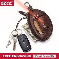 GZCZ 2019 Genuine Leather Keychain Fashion Men Key Wallet Organizer Zipper Poucht Key Bag Wallets Housekeeper Key Free Fngraving