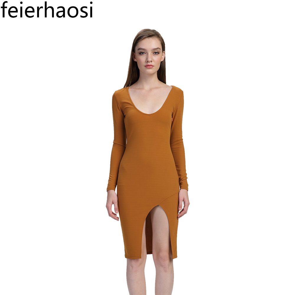 feierhaosi women sexy bodycon dress solid brown color slit dress full sleeve round collar vent sheath dresses for women F1388