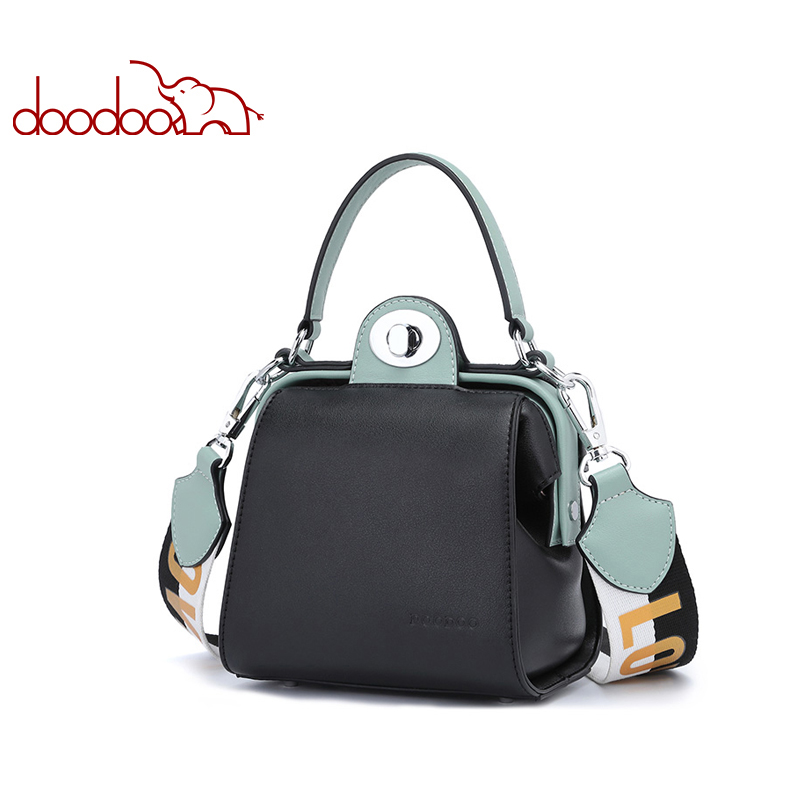 DOODOO Ladies Pu Leather Top-handle Messenger Bags Wide Shoulder Strap Small Tote Women Handbag Female Shoulder Crossbody Bags just star women pu leather handbag ladies fashion small cat tote shoulder purse female leisure embroidery messenger bags jz4299