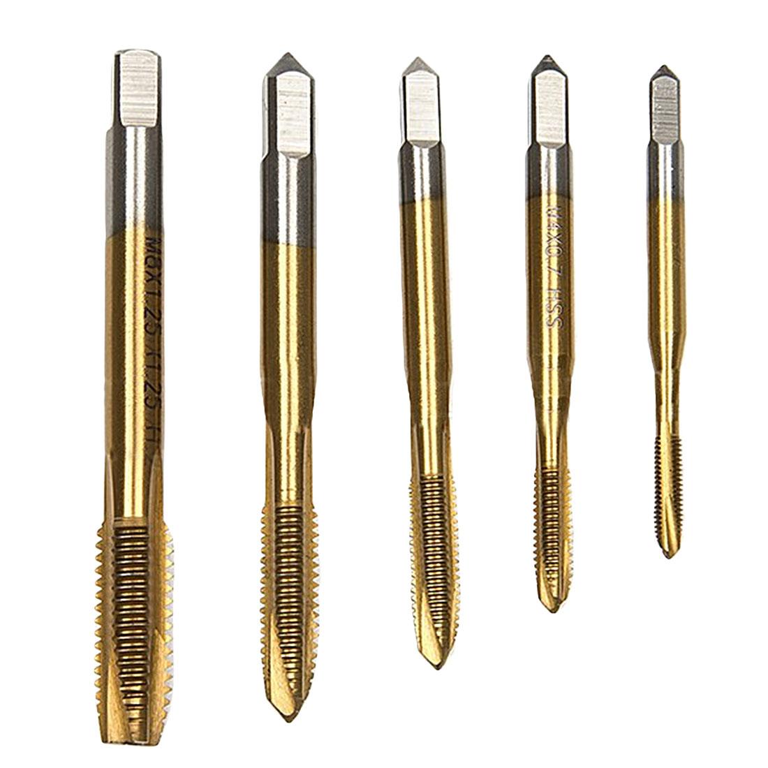 5pcs/set Titanium Coated Thread Tap Drill Metric Hss Die M3 M4 M5 M6 M8 Spiral Point Thread Plug Handle Taps Die Set