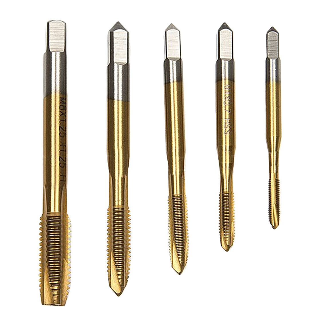 5pcs/set Titanium Machine Right Hand Tap Drill Spiral Fluted Machine Screw Tap 3 Flute M3 M4 M5 M6 M8 Spiral Pointed Taps
