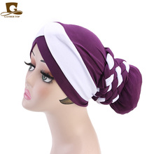 New Women Muslim Scarf Hats Fashion Beading Braid Hijabs Turban Head Cap Hat Beanie Ladies Hair Accessories India