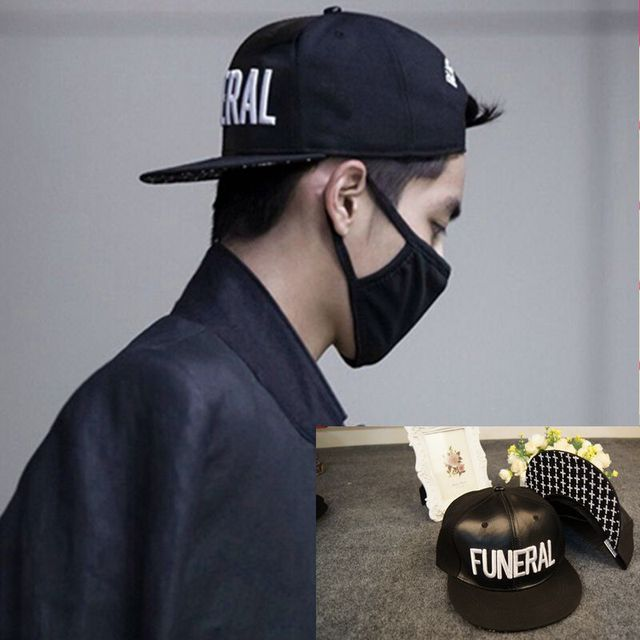 EXO Kris Wu FUNERAL patent leather flat with paragraph embroidery along the  hip-hop hat Korean baseball cap influx of men and wo ac03e87eafc
