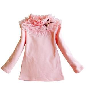 Image 2 - School Girl School Blouse Thermal Underwear For Children Autumn / Winter Long Sleeve Plus Velvet Thick 100% Cotton Lace Princess