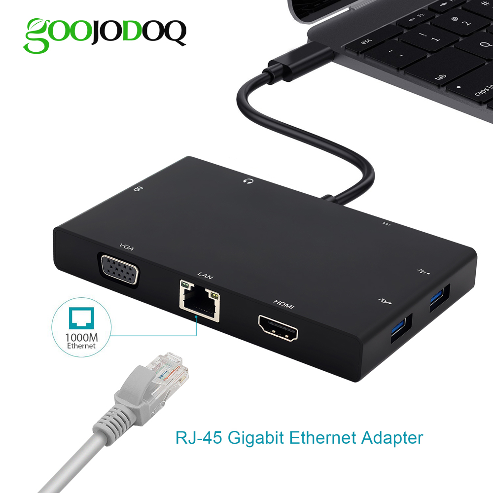 купить USB C Hub for Macbook Pro thunderbolt 3 USB-C HDMI Ethernet VGA Adapter Card Reader 3.5mm Jack Type C Hub with Charging Port