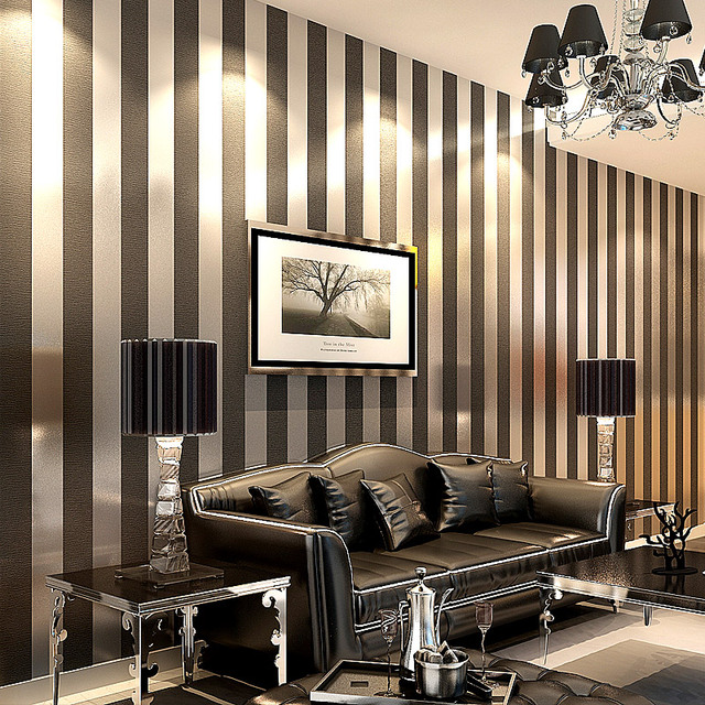 Simple dark brown vertical stripes non woven wallpaper paved wide ...