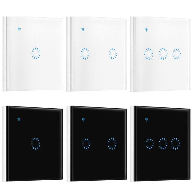 1/2/3 Gang Wi-Fi interruptor de luz táctil de pared Panel de luz inalámbrico de inteligencia tiempo y trabajo de Control remoto con aplicación Alexa de Google