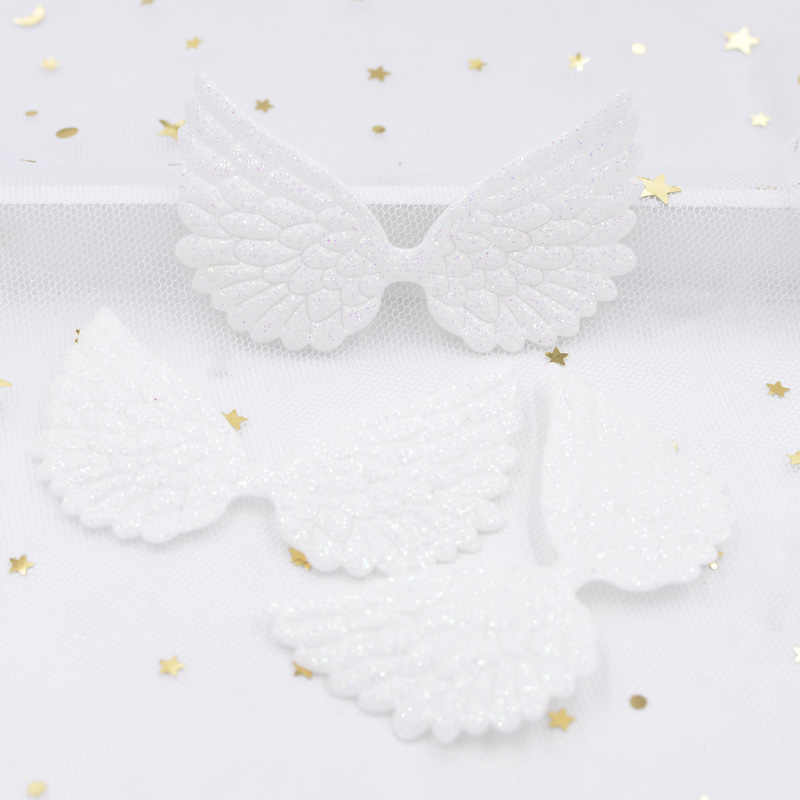 20Pcs 74*43mm White Angel Wing Appliques Single Sided Glitter Powders Fairy Wing Patches DIY Headwear Bowknot Bow Tie Decor G02