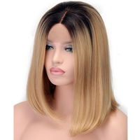 EEWIGS Short Bob Blonde Ombre Lace Front Wig Synthetic For Women Heat Resistant Glueless Natural Silky Straight Fiber Hair Wigs