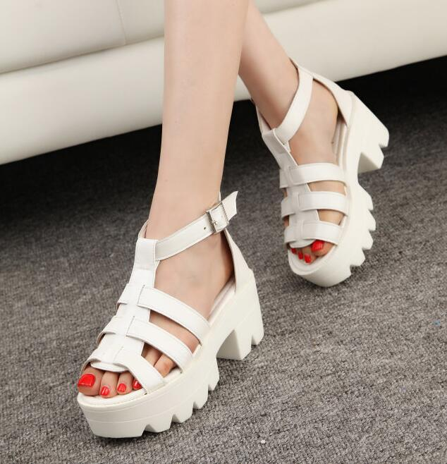 1adbac3707c EFFGT 2017 NEW Korean Women Platform Shoes Gladiator Woman Sandals Summer  Hollow Out Weave Ladies Sandal free shipping N21-in Women s Sandals from  Shoes on ...