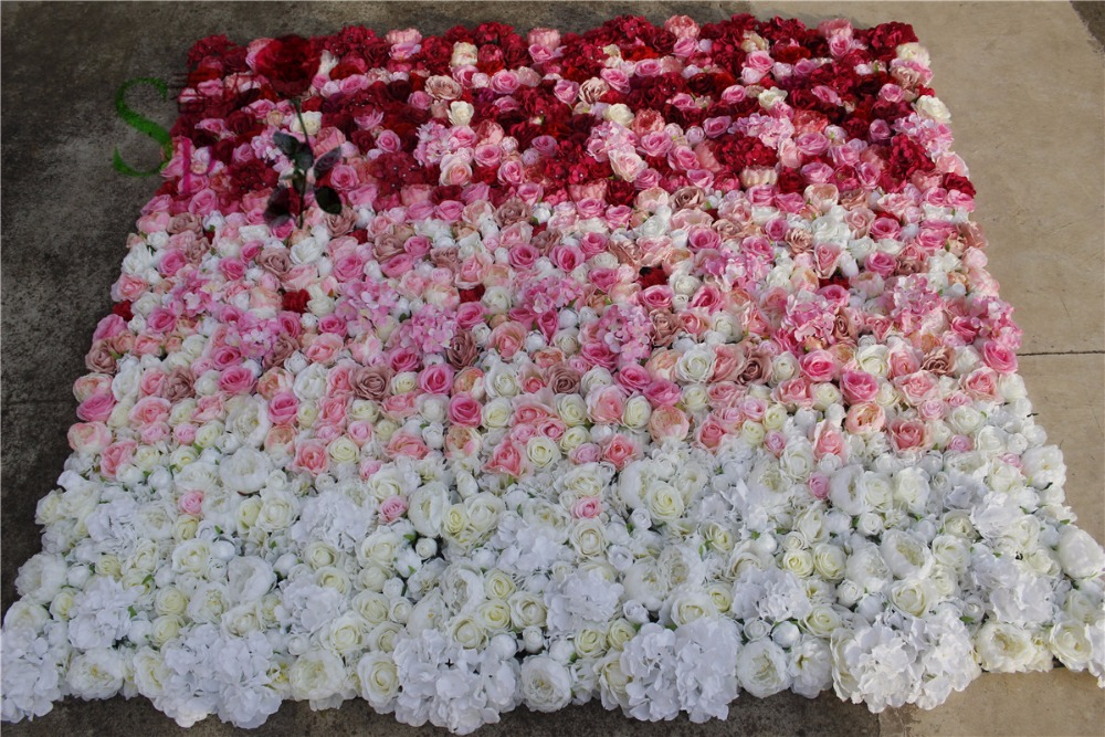 SPR artificial mix penoy hydrangea rose wedding ombre backdrop flower wall high quality custom design style