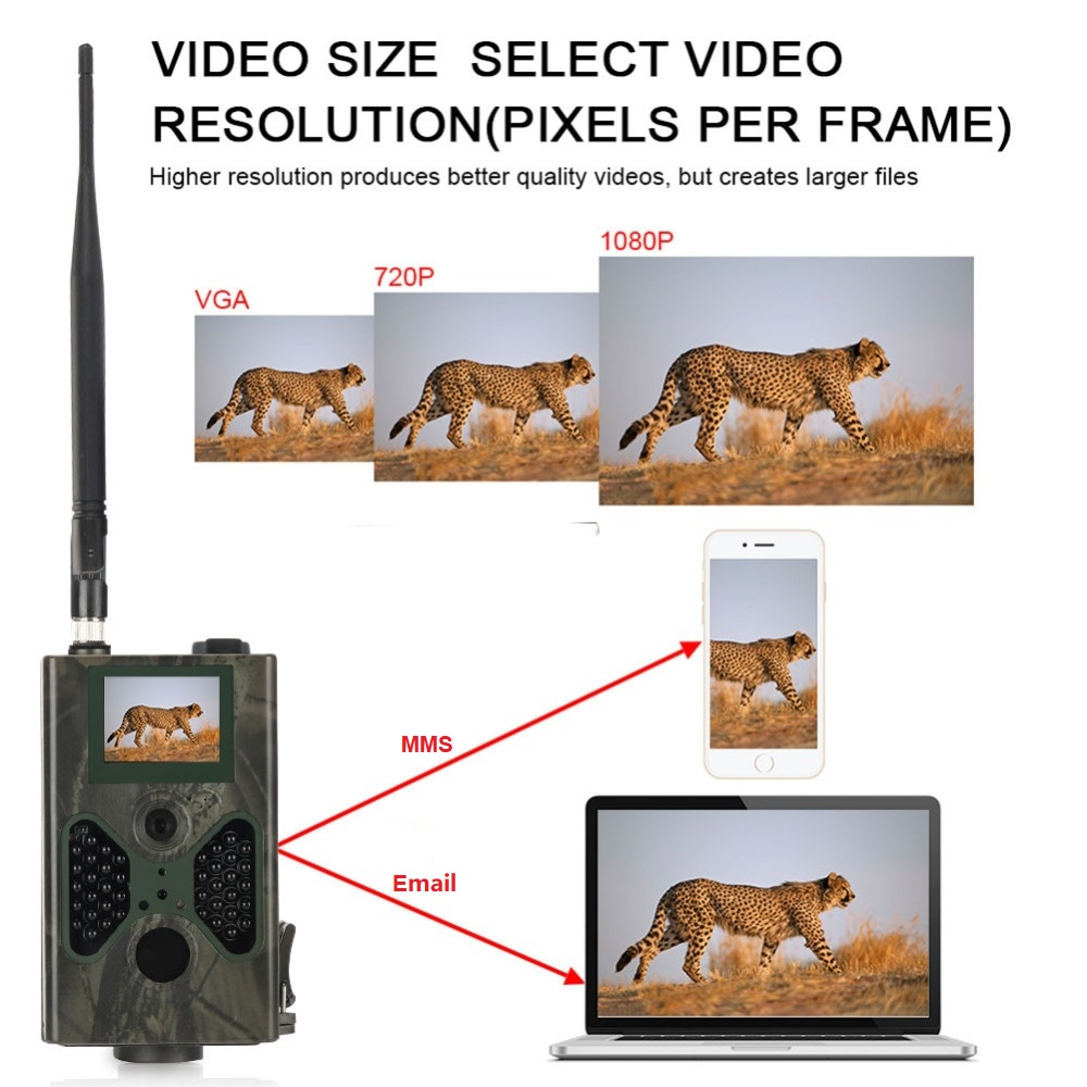 2G Celluar Hunting Trail Camera  SMS MMS SMTP Email 16MP 1080P Photo Traps Night Vision Wildlife Infrared Cameras  HC330M