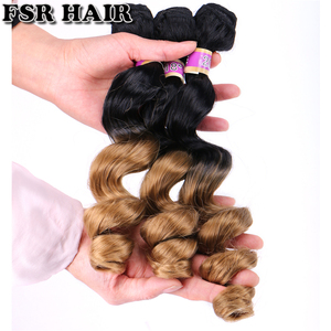 Image 3 - FSR black to golden burgundy Ombre Hair weave 16 18 20 Inches 3pcs/lot Synthetic Hair extension loose wave bundles for women